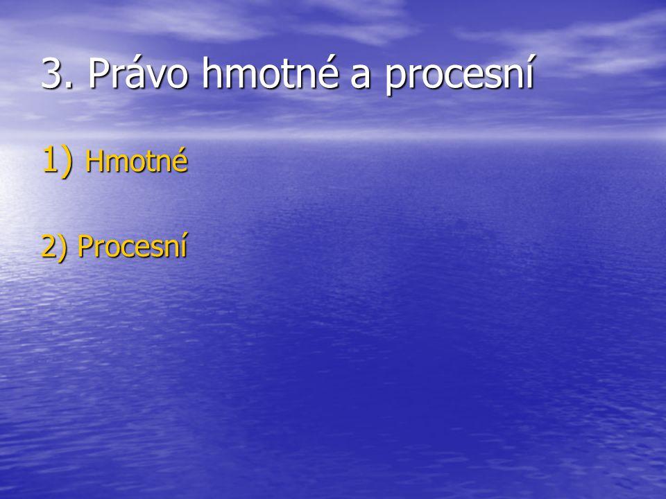 3. Právo hmotné a procesní 1) Hmotné 2) Procesní