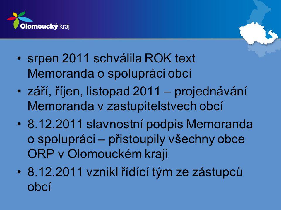 •srpen 2011 schválila ROK text Memoranda o spolupráci obcí •září, říjen, listopad 2011 – projednávání Memoranda v zastupitelstvech obcí •8.12.2011 sla