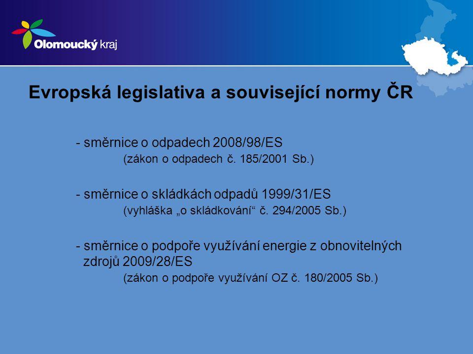 Evropská legislativa a související normy ČR - směrnice o odpadech 2008/98/ES (zákon o odpadech č. 185/2001 Sb.) - směrnice o skládkách odpadů 1999/31/