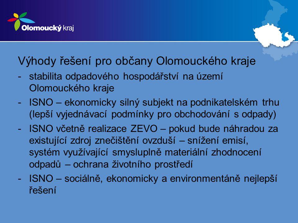 Výhody řešení pro občany Olomouckého kraje -stabilita odpadového hospodářství na území Olomouckého kraje -ISNO – ekonomicky silný subjekt na podnikatelském trhu (lepší vyjednávací podmínky pro obchodování s odpady) -ISNO včetně realizace ZEVO – pokud bude náhradou za existující zdroj znečištění ovzduší – snížení emisí, systém využívající smysluplně materiální zhodnocení odpadů – ochrana životního prostředí -ISNO – sociálně, ekonomicky a environmentáně nejlepší řešení