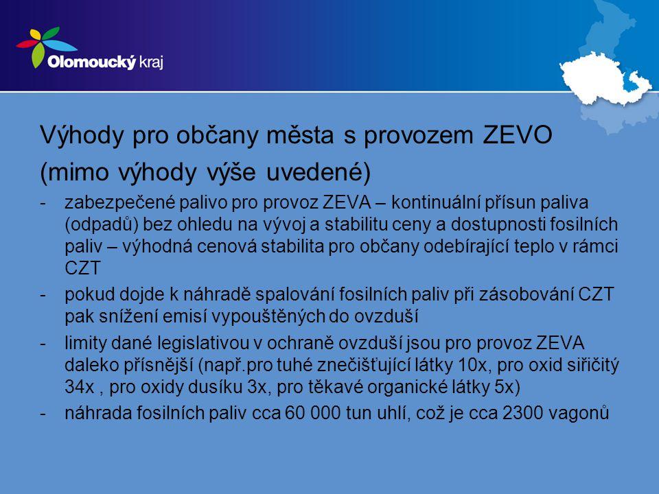 Výhody pro občany města s provozem ZEVO (mimo výhody výše uvedené) -zabezpečené palivo pro provoz ZEVA – kontinuální přísun paliva (odpadů) bez ohledu