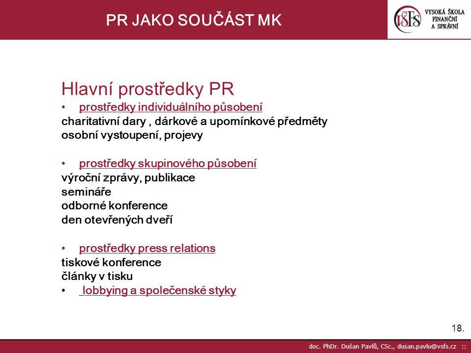 18. doc. PhDr. Dušan Pavlů, CSc., dusan.pavlu@vsfs.cz :: PR JAKO SOUČÁST MK Hlavní prostředky PR •prostředky individuálního působení charitativní dary