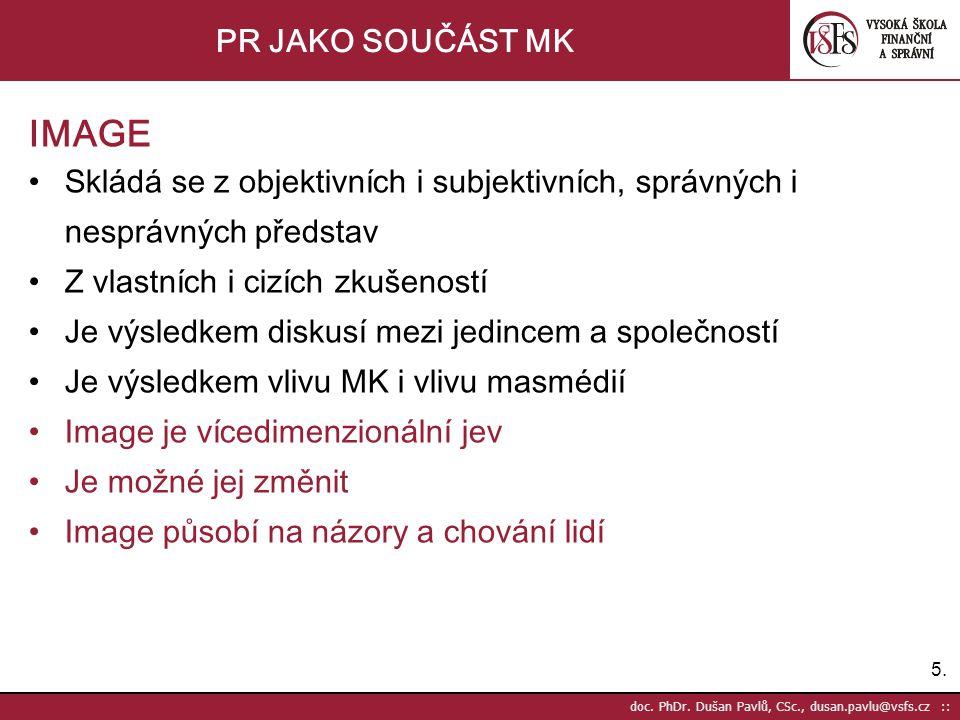 5.5. doc. PhDr. Dušan Pavlů, CSc., dusan.pavlu@vsfs.cz :: PR JAKO SOUČÁST MK IMAGE •Skládá se z objektivních i subjektivních, správných i nesprávných