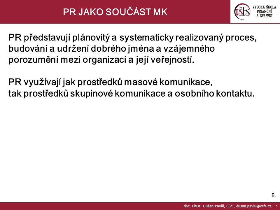 8.8. doc. PhDr. Dušan Pavlů, CSc., dusan.pavlu@vsfs.cz :: PR JAKO SOUČÁST MK PR představují plánovitý a systematicky realizovaný proces, budování a ud