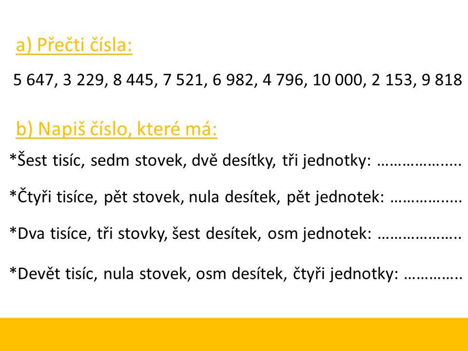 ZÁPIS ČÍSEL: 5 9 8 2 T S D J J – jednotky zapisujeme na základní místo – na první zprava.