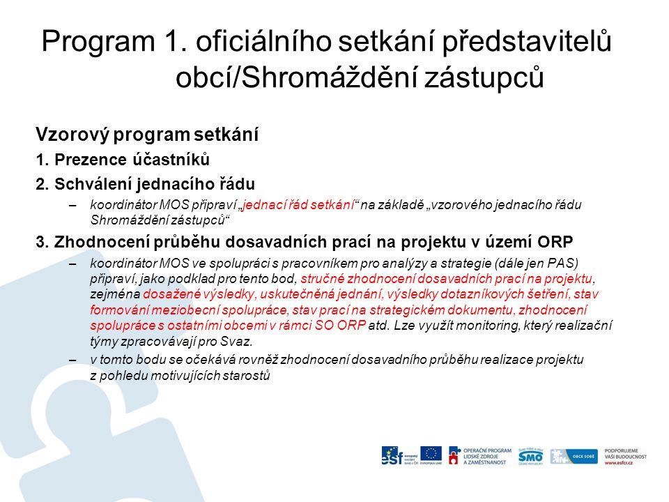 Program 1.oficiálního setkání představitelů obcí/Shromáždění zástupců Vzorový program setkání 1.
