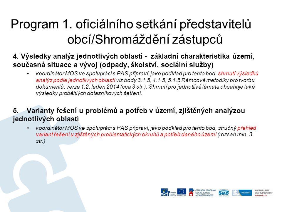 Program 1.oficiálního setkání představitelů obcí/Shromáždění zástupců 4.