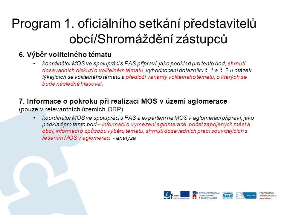 Program 1.oficiálního setkání představitelů obcí/Shromáždění zástupců 6.