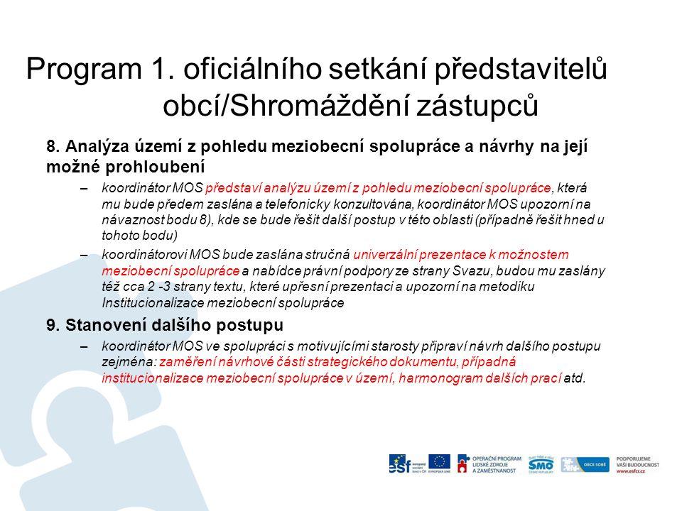 Program 1.oficiálního setkání představitelů obcí/Shromáždění zástupců 8.