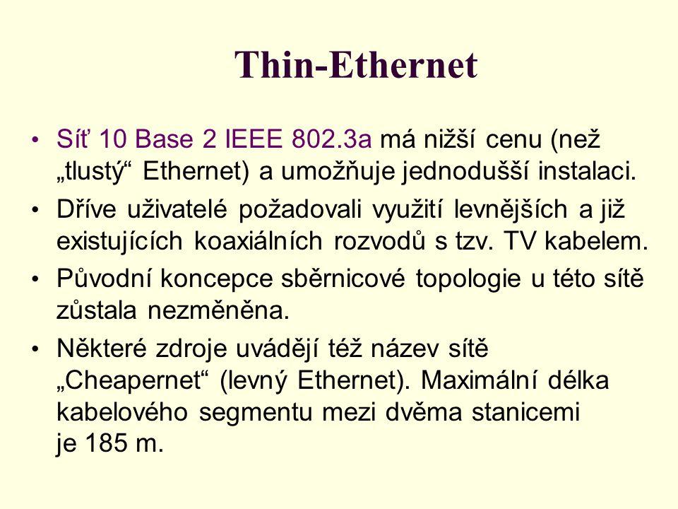 """Thin-Ethernet • Síť 10 Base 2 IEEE 802.3a má nižší cenu (než """"tlustý Ethernet) a umožňuje jednodušší instalaci."""
