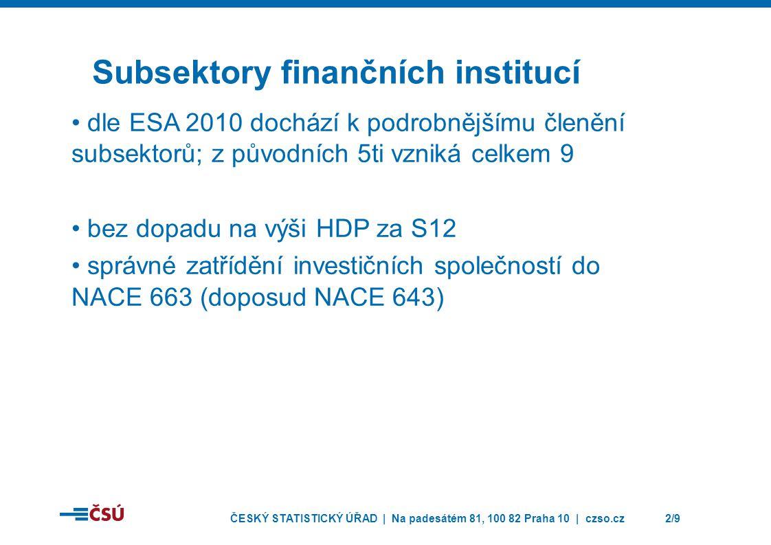 ČESKÝ STATISTICKÝ ÚŘAD | Na padesátém 81, 100 82 Praha 10 | czso.cz2/9 Subsektory finančních institucí • dle ESA 2010 dochází k podrobnějšímu členění subsektorů; z původních 5ti vzniká celkem 9 • bez dopadu na výši HDP za S12 • správné zatřídění investičních společností do NACE 663 (doposud NACE 643)