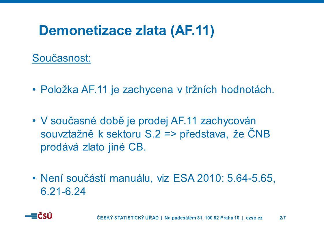 ČESKÝ STATISTICKÝ ÚŘAD | Na padesátém 81, 100 82 Praha 10 | czso.cz2/7 Demonetizace zlata (AF.11) Současnost: •Položka AF.11 je zachycena v tržních hodnotách.