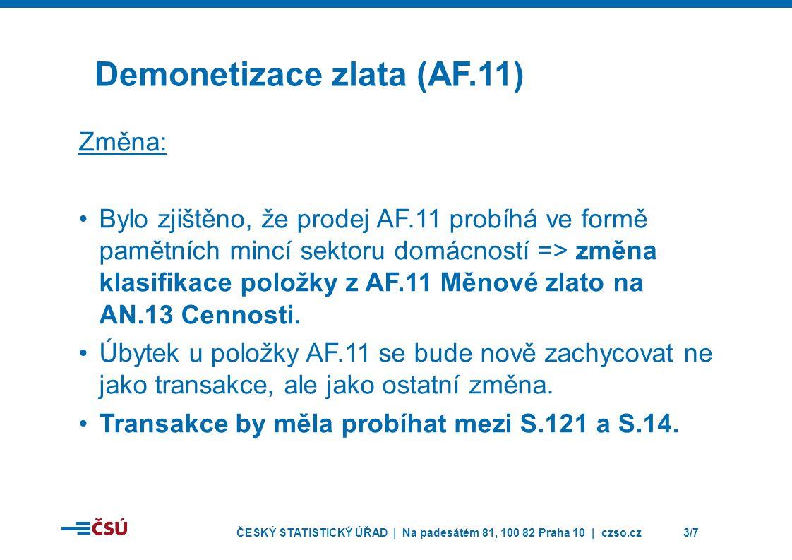 ČESKÝ STATISTICKÝ ÚŘAD | Na padesátém 81, 100 82 Praha 10 | czso.cz3/7 Demonetizace zlata (AF.11) Změna: •Bylo zjištěno, že prodej AF.11 probíhá ve formě pamětních mincí sektoru domácností => změna klasifikace položky z AF.11 Měnové zlato na AN.13 Cennosti.