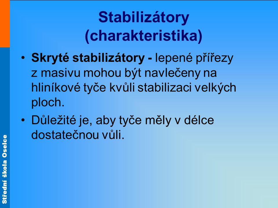 Střední škola Oselce Stabilizátory (charakteristika) •Skryté stabilizátory - lepené přířezy z masivu mohou být navlečeny na hliníkové tyče kvůli stabilizaci velkých ploch.