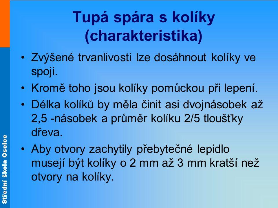 Střední škola Oselce Tupá spára s kolíky (charakteristika) •Zvýšené trvanlivosti lze dosáhnout kolíky ve spoji.