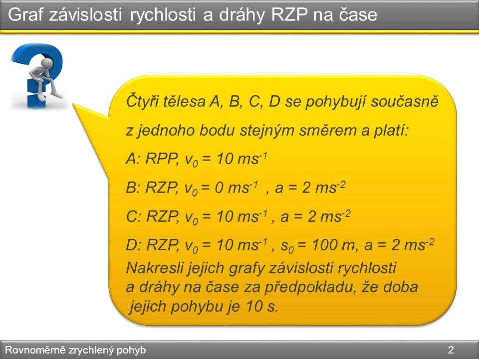 Graf závislosti rychlosti a dráhy RZP na čase Rovnoměrně zrychlený pohyb 2 Čtyři tělesa A, B, C, D se pohybují současně z jednoho bodu stejným směrem a platí: A: RPP, v 0 = 10 ms -1 B: RZP, v 0 = 0 ms -1, a = 2 ms -2 C: RZP, v 0 = 10 ms -1, a = 2 ms -2 D: RZP, v 0 = 10 ms -1, s 0 = 100 m, a = 2 ms -2 Nakresli jejich grafy závislosti rychlosti a dráhy na čase za předpokladu, že doba jejich pohybu je 10 s.