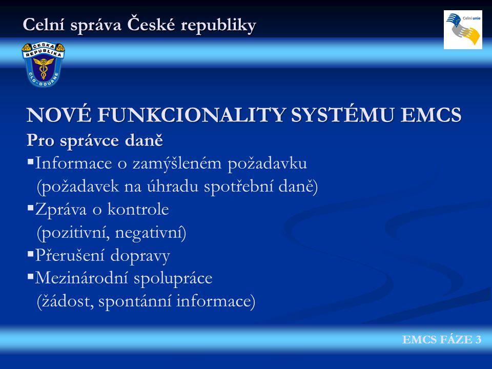 Celní správa České republiky EMCS FÁZE 3 NOVÉ FUNKCIONALITY SYSTÉMU EMCS Pro správce daně  Informace o zamýšleném požadavku (požadavek na úhradu spot