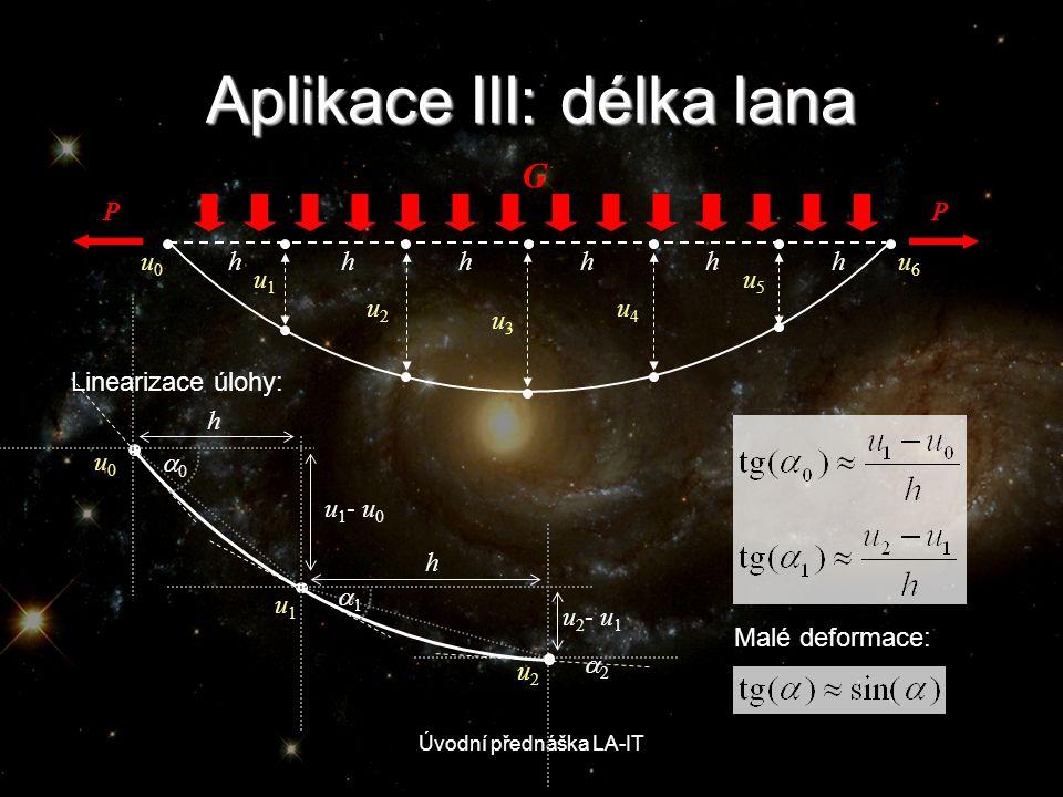 Úvodní přednáška LA-IT Aplikace III: délka lana u0u0 u1u1 u2u2 u3u3 u4u4 u5u5 u6u6 hhhhhh PP G Malé deformace: u 1 - u 0 h h u 2 - u 1 u0u0 00 u1u1