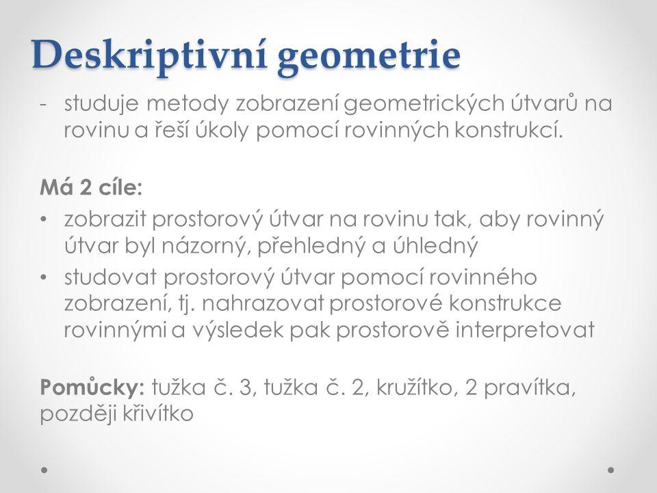 Deskriptivní geometrie -studuje metody zobrazení geometrických útvarů na rovinu a řeší úkoly pomocí rovinných konstrukcí. Má 2 cíle: • zobrazit prosto
