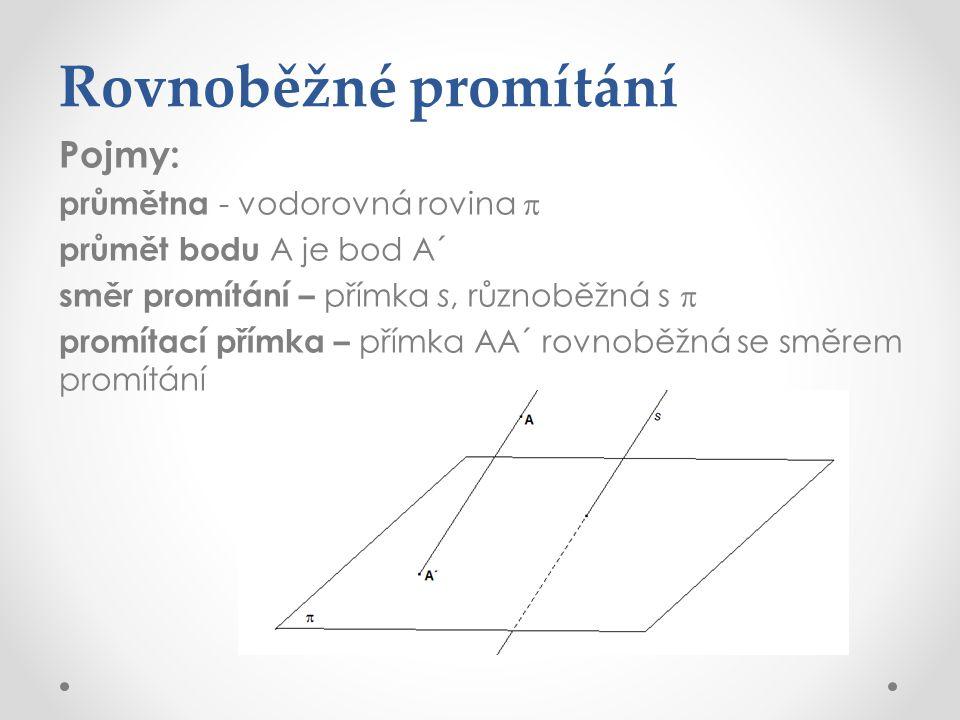 Rovnoběžné promítání Pojmy: průmětna - vodorovná rovina  průmět bodu A je bod A´ směr promítání – přímka s, různoběžná s  promítací přímka – přímka AA´ rovnoběžná se směrem promítání