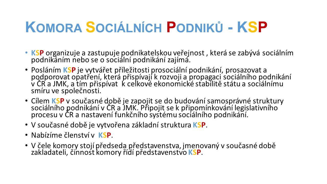 K OMORA S OCIÁLNÍCH P ODNIKŮ - KSP • KSP organizuje a zastupuje podnikatelskou veřejnost, která se zabývá sociálním podnikáním nebo se o sociální podn