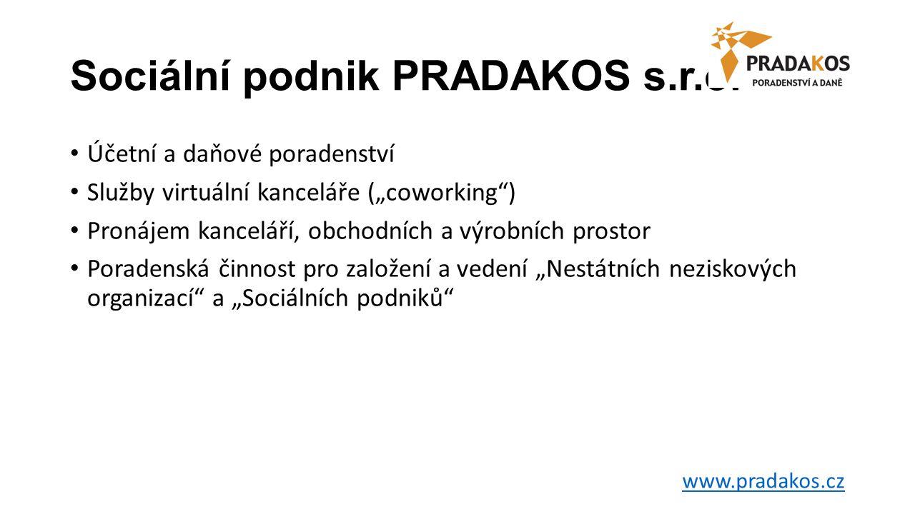 """Sociální podnik PRADAKOS s.r.o. • Účetní a daňové poradenství • Služby virtuální kanceláře (""""coworking"""") • Pronájem kanceláří, obchodních a výrobních"""