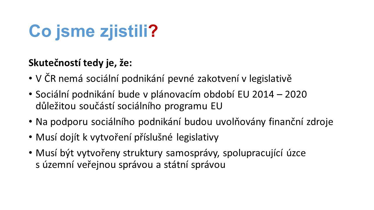 Co jsme zjistili? Skutečností tedy je, že: • V ČR nemá sociální podnikání pevné zakotvení v legislativě • Sociální podnikání bude v plánovacím období
