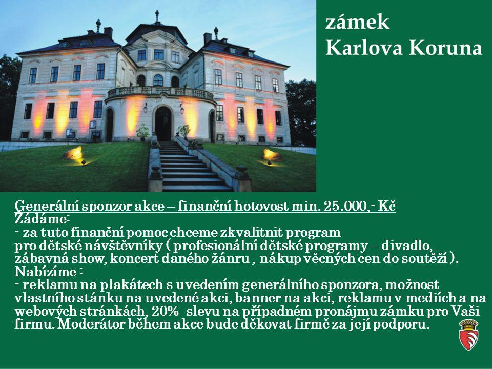 Generální sponzor akce – finanční hotovost min.