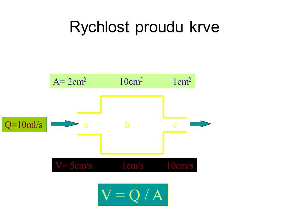Rychlost proudu krve Q=10ml/s A= 2cm 2 10cm 2 1cm 2 V= 5cm/s 1cm/s 10cm/s V = Q / A abc