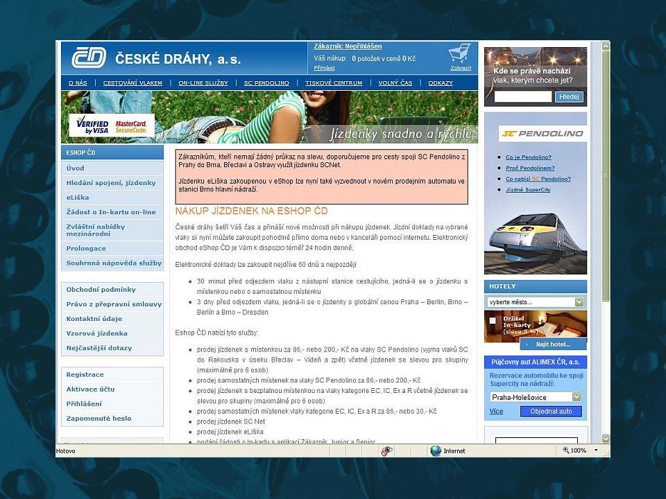 Internet pomůže na cestách s ČD •Poradí se službami spojenými s Internetem, včetně systémů plánování cest (www.vlak.cz – IDOS)www.vlak.cz •Rezervace j