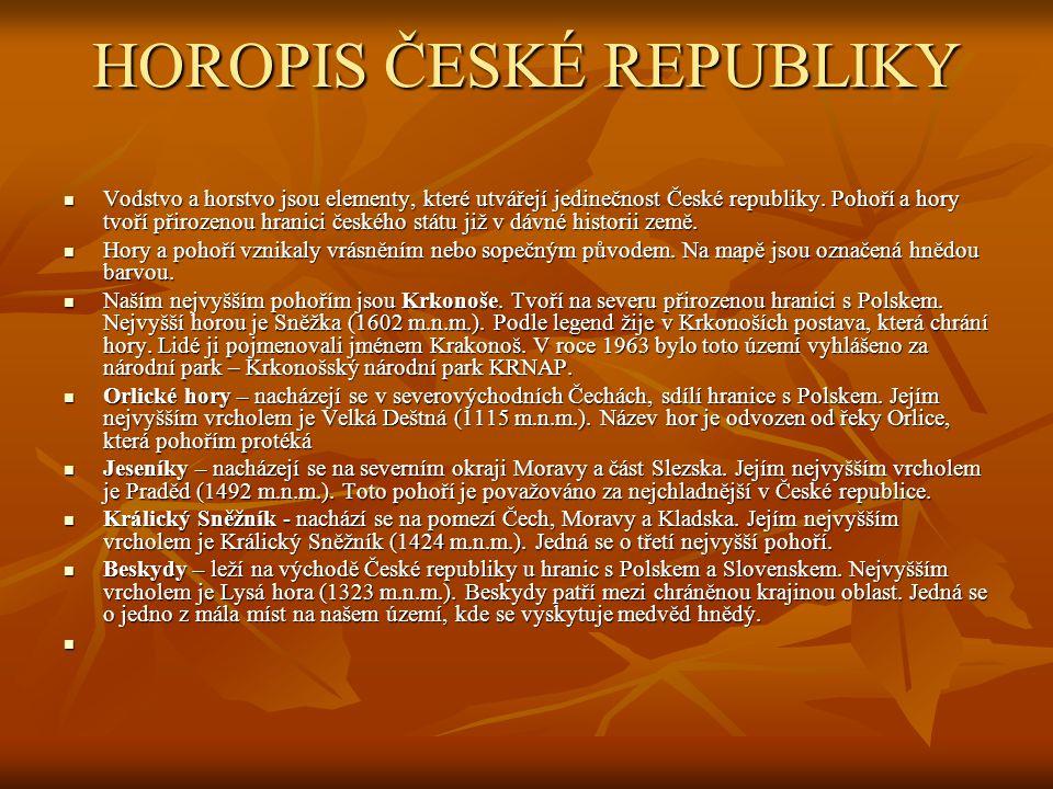 HOROPIS ČESKÉ REPUBLIKY  Vodstvo a horstvo jsou elementy, které utvářejí jedinečnost České republiky. Pohoří a hory tvoří přirozenou hranici českého