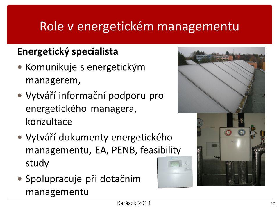 Karásek 2014 Role v energetickém managementu 10 Energetický specialista  Komunikuje s energetickým managerem,  Vytváří informační podporu pro energe