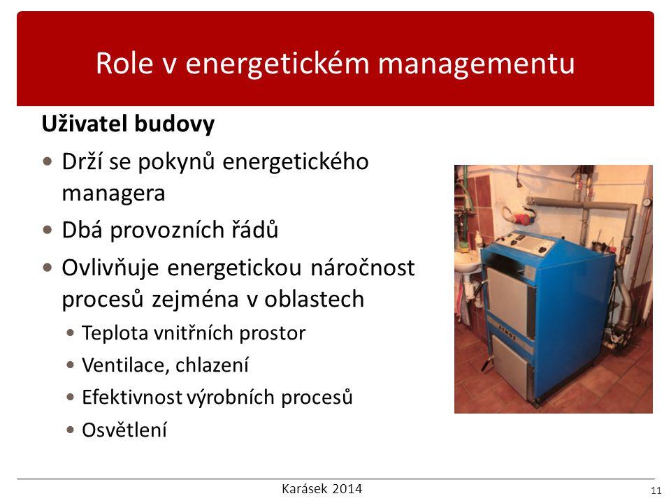 Karásek 2014 Role v energetickém managementu 11 Uživatel budovy  Drží se pokynů energetického managera  Dbá provozních řádů  Ovlivňuje energetickou
