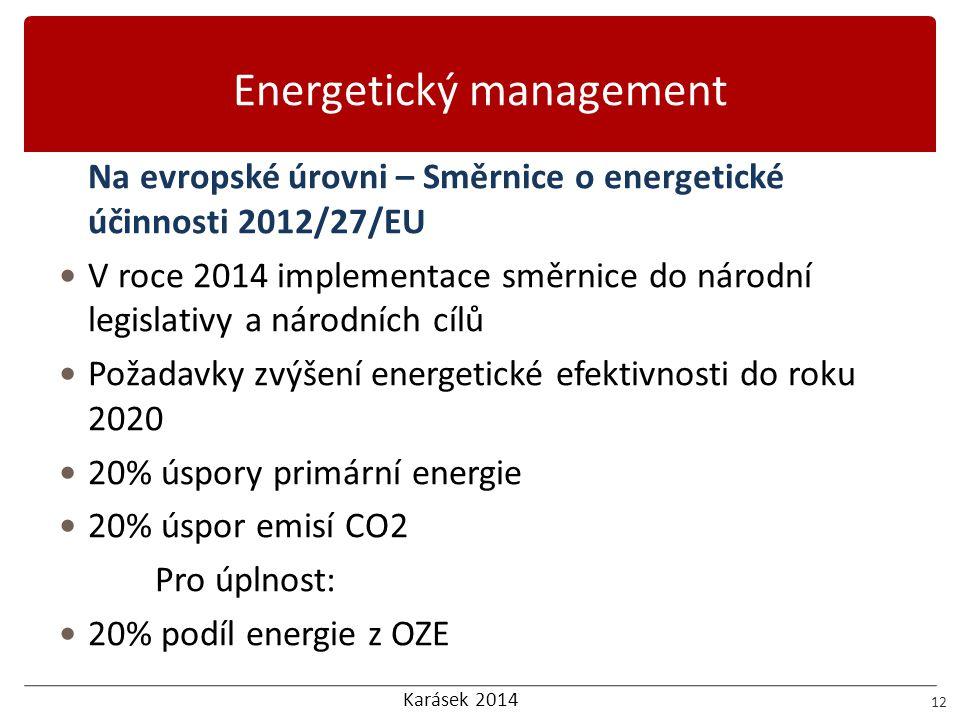 Karásek 2014 Energetický management 12 Na evropské úrovni – Směrnice o energetické účinnosti 2012/27/EU  V roce 2014 implementace směrnice do národní