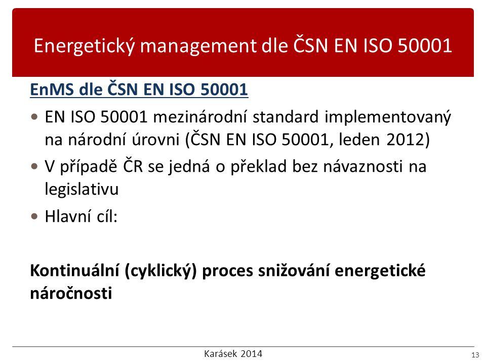 Karásek 2014 Energetický management dle ČSN EN ISO 50001 13 EnMS dle ČSN EN ISO 50001  EN ISO 50001 mezinárodní standard implementovaný na národní úr