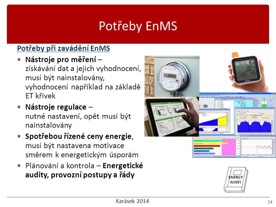 Karásek 2014 Potřeby EnMS 14 Potřeby při zavádění EnMS  Nástroje pro měření – získávání dat a jejich vyhodnocení, musí být nainstalovány, vyhodnocení