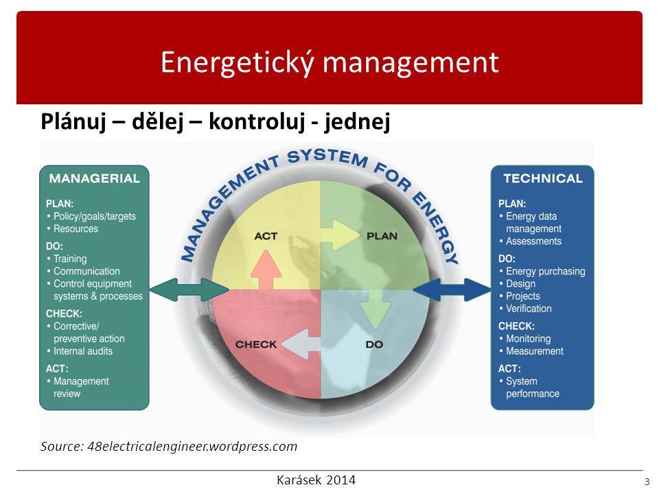 Karásek 2014 Potřeby EnMS 14 Potřeby při zavádění EnMS  Nástroje pro měření – získávání dat a jejich vyhodnocení, musí být nainstalovány, vyhodnocení například na základě ET křivek  Nástroje regulace – nutné nastavení, opět musí být nainstalovány  Spotřebou řízené ceny energie, musí být nastavena motivace směrem k energetickým úsporám  Plánování a kontrola – Energetické audity, provozní postupy a řády ENERGY AUDIT