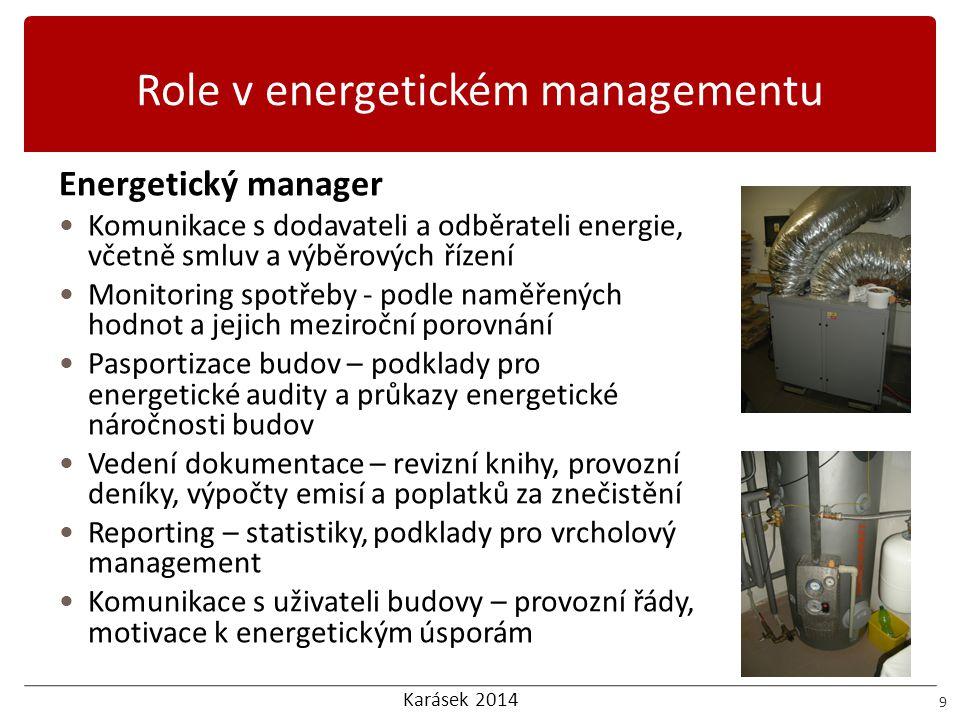 Karásek 2014 Role v energetickém managementu 10 Energetický specialista  Komunikuje s energetickým managerem,  Vytváří informační podporu pro energetického managera, konzultace  Vytváří dokumenty energetického managementu, EA, PENB, feasibility study  Spolupracuje při dotačním managementu