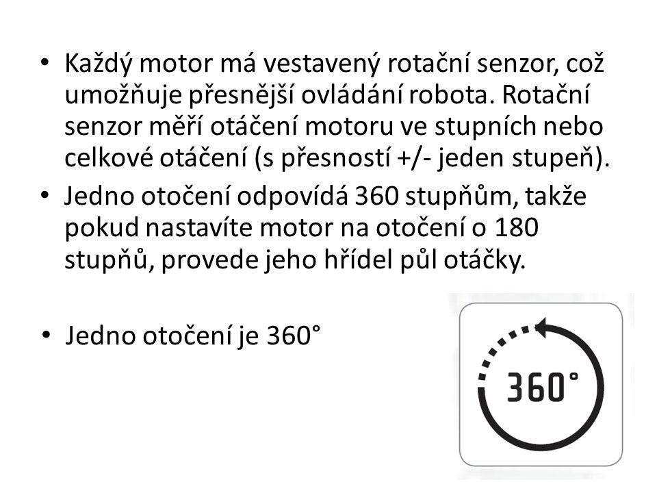 • Každý motor má vestavený rotační senzor, což umožňuje přesnější ovládání robota. Rotační senzor měří otáčení motoru ve stupních nebo celkové otáčení
