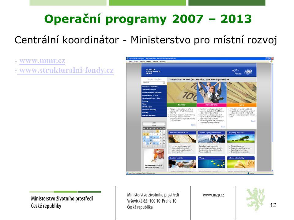 12 Operační programy 2007 – 2013 Centrální koordinátor - Ministerstvo pro místní rozvoj - www.mmr.czwww.mmr.cz - www.strukturalni-fondy.cz www.struktu
