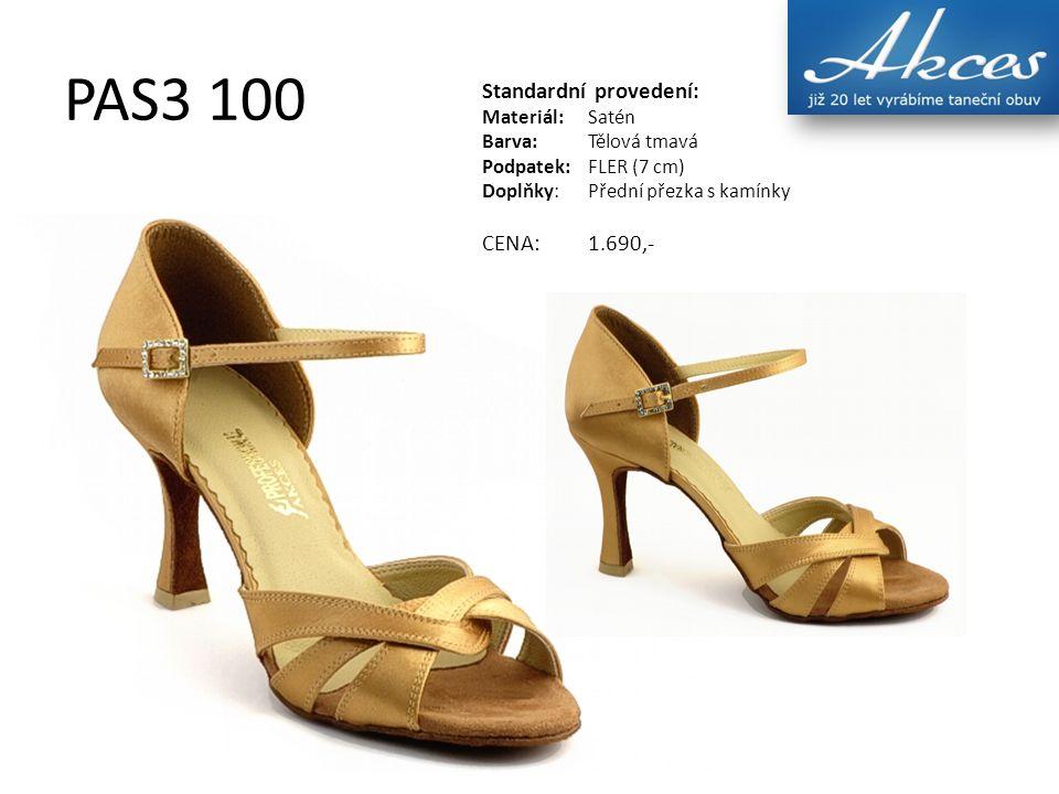 PAS3 100 Standardní provedení: Materiál:Satén Barva:Tělová tmavá Podpatek:FLER (7 cm) Doplňky:Přední přezka s kamínky CENA:1.690,-