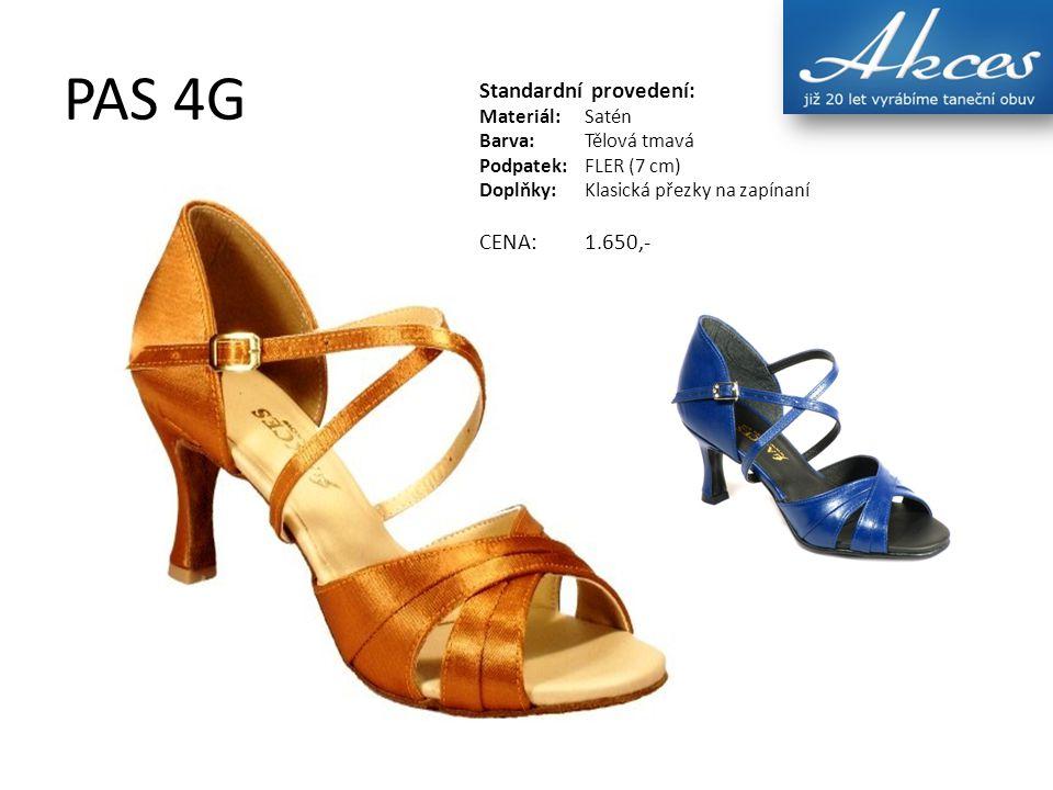 PAS 4G Standardní provedení: Materiál:Satén Barva:Tělová tmavá Podpatek:FLER (7 cm) Doplňky:Klasická přezky na zapínaní CENA:1.650,-