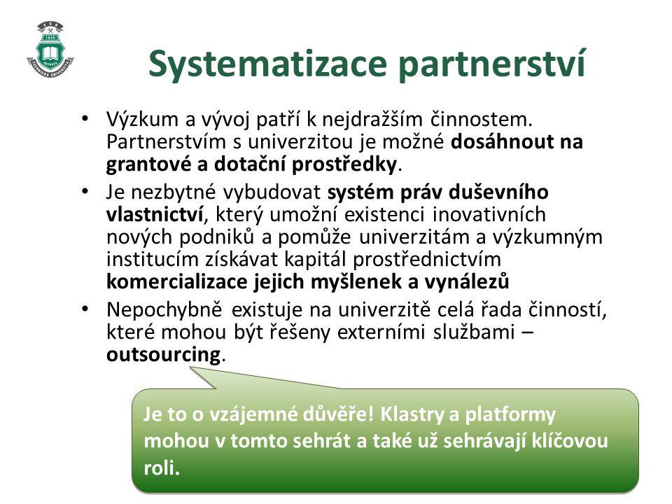 Systematizace partnerství • Výzkum a vývoj patří k nejdražším činnostem.