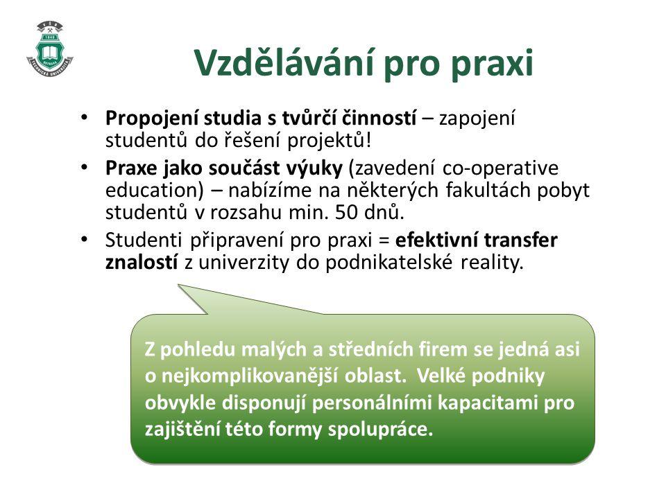 Vzdělávání pro praxi • Propojení studia s tvůrčí činností – zapojení studentů do řešení projektů.