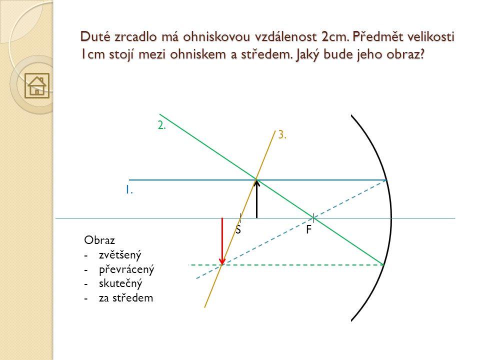 Duté zrcadlo má ohniskovou vzdálenost 2cm. Předmět velikosti 1cm stojí mezi ohniskem a středem. Jaký bude jeho obraz? FS 1. 2. 3. Obraz -zvětšený -pře