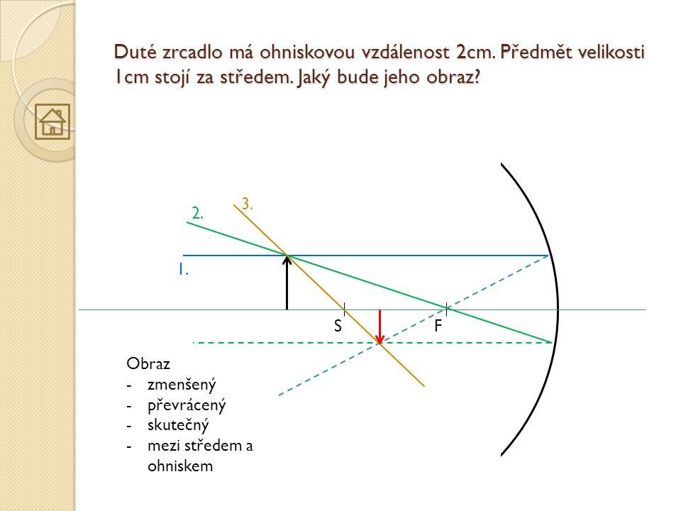 Duté zrcadlo má ohniskovou vzdálenost 2cm. Předmět velikosti 1cm stojí za středem. Jaký bude jeho obraz? FS 1. 2. 3. Obraz -zmenšený -převrácený -skut