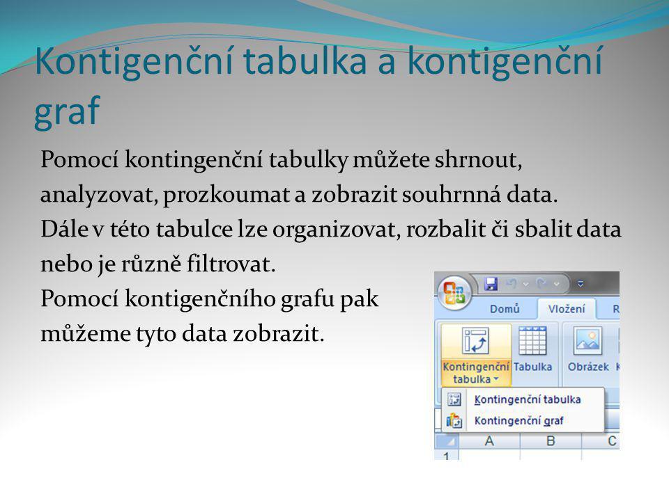 Kontigenční tabulka a kontigenční graf Pomocí kontingenční tabulky můžete shrnout, analyzovat, prozkoumat a zobrazit souhrnná data. Dále v této tabulc