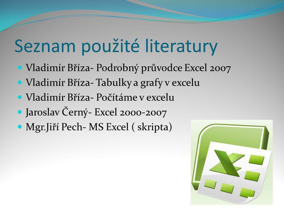 Seznam použité literatury  Vladimír Bříza- Podrobný průvodce Excel 2007  Vladimír Bříza- Tabulky a grafy v excelu  Vladimír Bříza- Počítáme v excel