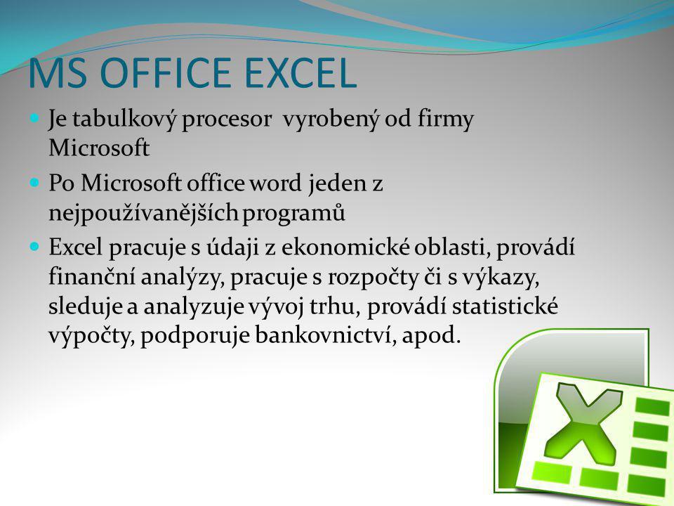 MS OFFICE EXCEL  Je tabulkový procesor vyrobený od firmy Microsoft  Po Microsoft office word jeden z nejpoužívanějších programů  Excel pracuje s úd