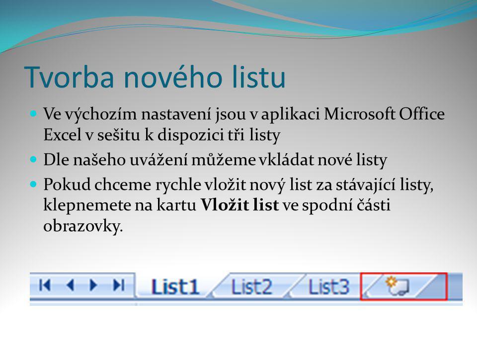 Tvorba nového listu  Ve výchozím nastavení jsou v aplikaci Microsoft Office Excel v sešitu k dispozici tři listy  Dle našeho uvážení můžeme vkládat